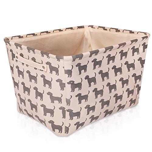 Cremefarbener Hunde Leinen-Aufbewahrungskorb - qualitativ hochwertiger Korb mit grauen Hunde für die Aufbewahrung von Haushaltsartikeln. 40cm x 30cm x 25cm