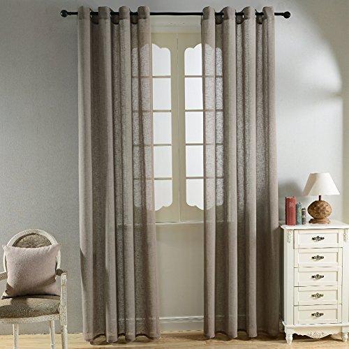 Top finel tende voile pure lino tenda drappeggio con occhielli per casa 140 x 245 cm 2 pezzi,marrone