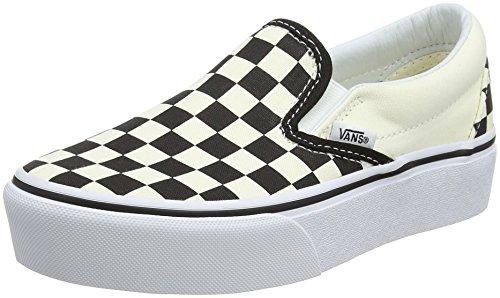 Vans Damen Classic Slip-on Platform Slip On Sneaker, Schwarz (Black and Checker/White Bww), 38 EU