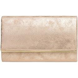 CASPAR TA381 Damen elegante Envelope Clutch Tasche / Abendtasche mit langer Kette, Farbe:roségold;Größe:One Size