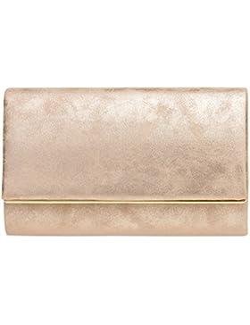 CASPAR TA381 Damen elegante Envelope Clutch Tasche / Abendtasche mit langer Kette