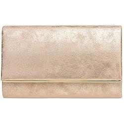 CASPAR TA381 Damen elegante Envelope Clutch Tasche Abendtasche mit langer Kette, Größe:One Size, Farbe:roségold