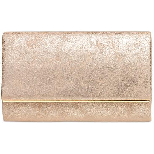 CASPAR TA381 Damen elegante Envelope Clutch Tasche Abendtasche mit langer Kette, Größe:One Size, Farbe:roségold (Rosa Und Gold Handtasche)