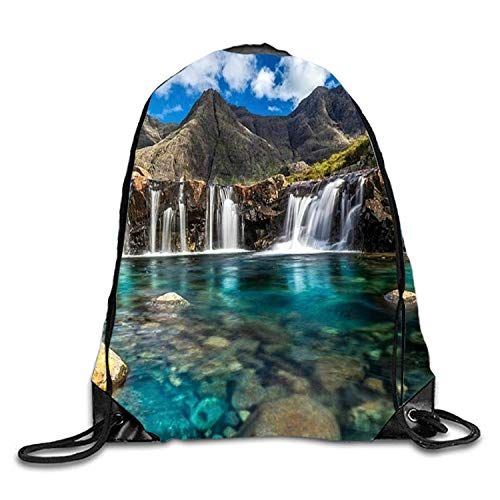 DHNKW The Eminent Fairy Pools Lightweight Drawstring Bag Sport Gym Backpack Gym Bag for Men and Women