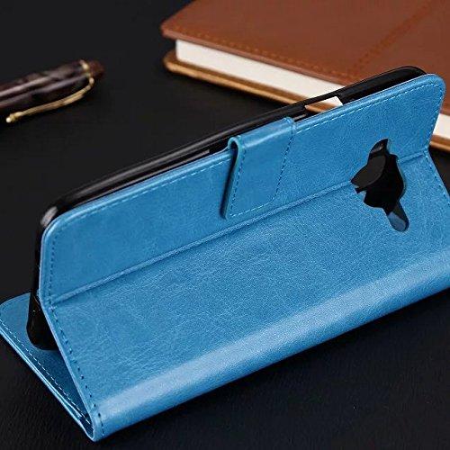 Wkae Case Cover Samsung J7 Fall feste Folio magnetische Design Flip Brieftasche Stil Fall Farbmuster PU-Leder-Abdeckung Standup-Abdeckungsfall für Samsung Galaxy J7 (2016) ( Color : Red , Size : Samsu Brown