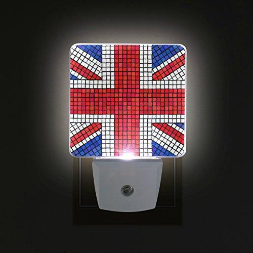 COOSUN UK Flag Union Jack Mosaic Plug in LED Night Light Auto Sensor Dusk to Dawn Decorative Night for Bedroom, Bathroom, Kitchen, Hallway, Stairs,Hallway,Baby's Room, Energy Saving (US Plug)