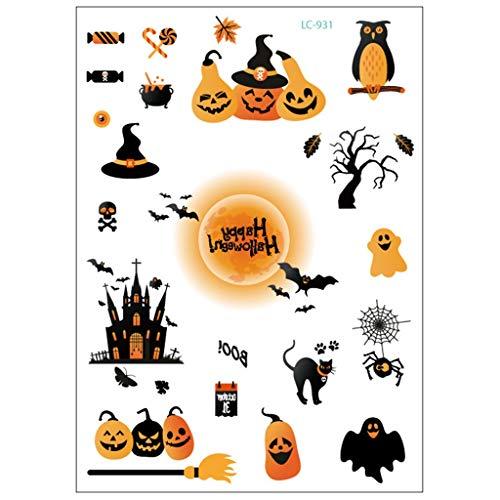 Ksell Tattoo Sticker Aufkleber für Kinder und Erwachsene Halloween Kürbis Fledermaus Hexe temporäre Tattoo