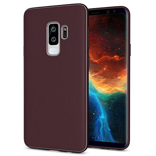 OEAGO Samsung Galaxy S9 Plus Hülle, [Ultra Dünn] [Anti-Kratzer] [Stoßfest] TPU Gummi Silikon Skin Cover Design für Samsung Galaxy S9 Plus- Weinrot
