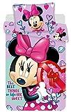 Disney Minnie - Parure da Letto, Copripiumino in Cotone, Colore: Viola