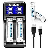 Dilusi P2 Intellicharger 18650 Caricabatterie 2 Slot intelligente per batterie agli ioni di litio e NiMH for 18650,18350,16340(RCR123),AA,AAA,C,etc,rechargeable batteries +2* Batteria 3000mAh