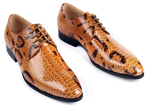 GRRONG Chaussures En Cuir Pour Hommes Banquet De Mode Pointu En Cuir De Vache Tenue En Pointe yellow