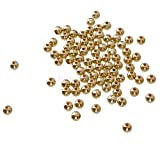 SLB Works 100 Pics Seed Pearl Beads Women Seeds Golden Acrylic Party Jewelry Loose 4mm