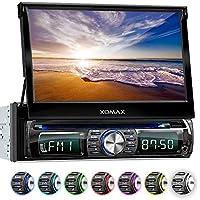 XOMAX XM-DTSB931 autoradio con pantalla táctil, Bluetooth, DVD, CD, SD , USB, Aux 7 colores de iluminación ajustable, 1 DIN