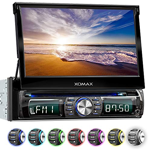 XOMAX XM-DTSB931 Radio de Coche con Pantalla Táctil retráctil I Bluetooth I DVD, CD, SD, USB, RDS I 7 Colores ajustable I Conexiones para cámara trasera, mando volante y subwoofer I 1 DIN