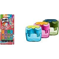 Pritt colle stick Fun Colors, colla colorata per bambini, per lavoretti e fai da te & Pelikan 10921112 Temperamatite…