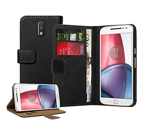 Membrane Motorola Moto G4/G4 Plus Custodia Portafoglio Nero Vera Pelle Libro Flip Wallet Protettivo Case