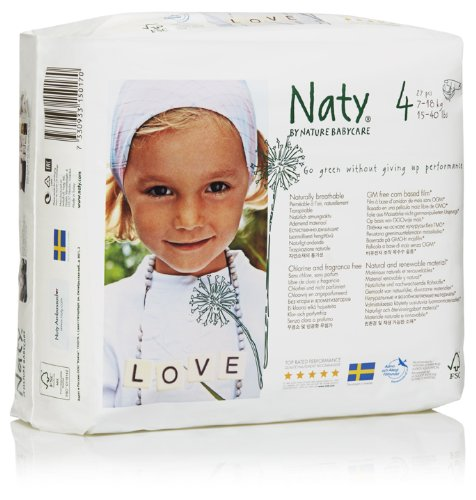 Naty by Nature Babycare Couches Écologiques Jetables Taille 4 Maxi 7-18 kg 27 Couches Lot de 4