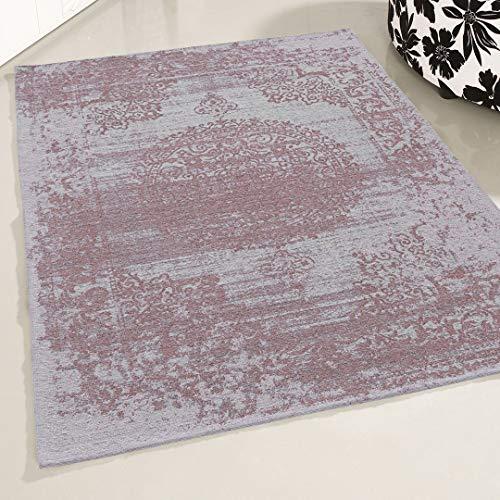 Mynes Home UK - Alfombra de salón Lavable, diseño Oriental, Color Rosa, Rosa, 120 x 170 cm
