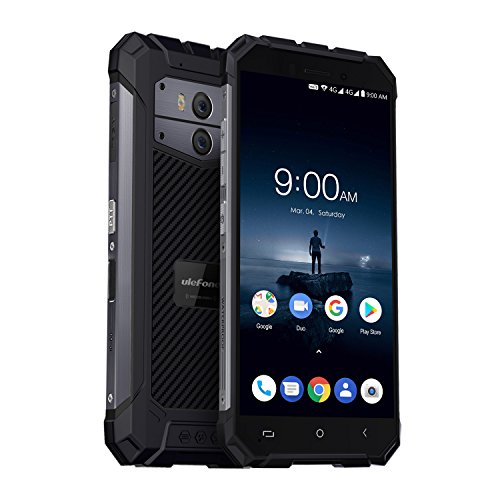 Ulefone Armor X 4G Outdoor Smartphone ohne Vertrag (2018) Android 8,1 - IP68 Wasserdicht, Staubdicht und Stoßfest, Eingebauter 5500mAh Akku, Qi Ladung, 5,5 Zoll HD+ 18:9 Voll-Display, 2GB + 16GB, Quad-Core Prozesser, Dual-Kamera, NFC, Dual-SIM (Nano), Dunkelgrau
