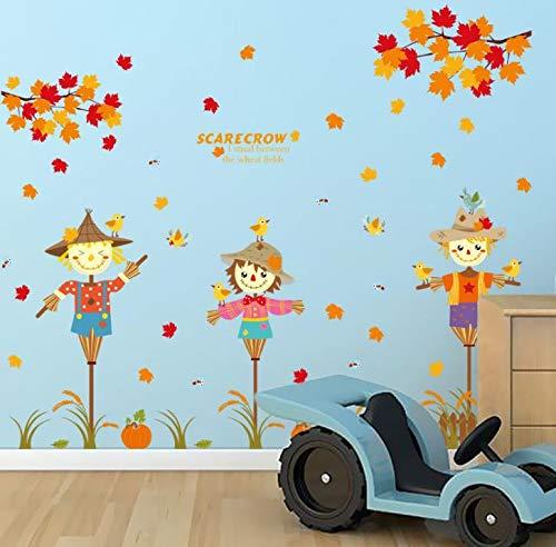 Dokfh Pvc Kreative Herbst Vogelscheuche Und Ahornblatt Wandaufkleber Baby Wandaufkleber Baum Aufkleber Wand Badezimmer Wandaufkleber