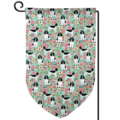 Lilyo-ltd Hundeflagge mit englischem Springer Spaniel, Blumenmuster, für Hundeliebhaber, Hunderassen, 31,8 x 45,7 cm, doppelseitig, Polyester -