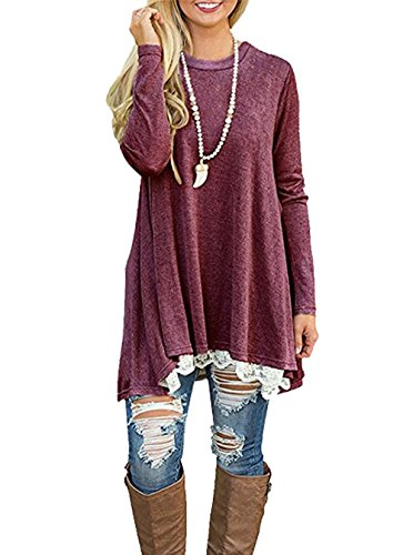 CoCo Fashion Damen Tunika Langarm Oversize Sweatshirts Frühling Casual Lang Tshirt Top Rot
