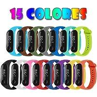 Migavan 15 Piezas Pulsera Xiaomi Mi Band 3 Correas Reloj Silicona Banda para XIAOMI Mi Band 3 Reemplazo - 15 Colores