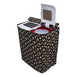 Lithara Floral Black Coloured Washing Machine Cover for semi Automatic Samsung WT1007AG�8 Kg