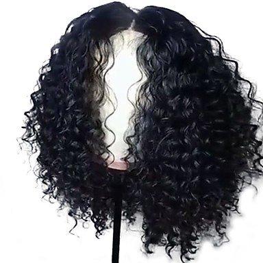 Hair Lace Wig brasilianisches Echthaar klebefreien Lace Front 130% Dichte mit Baby Hair Curly Weave Jerry Curl Curly Perücke schwarz, 130% (Jerry Curl Perücke)