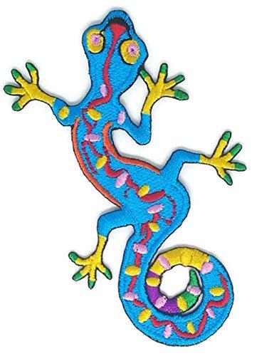 Blue Gecko Cartoon Stickerei Nähen Aufnäher Bügelbild Handarbeit Baby Kinder Mädchen Frauen Tücher DIY Kostüm Zubehör