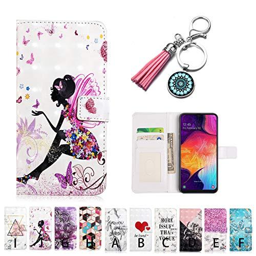 LA-Otter Kompatibel mit Samsung Galaxy A40 Hülle Mädchen Muster Leder Wallet Cover Tasche Handyhüllen Folio Etui mit Kartenfach Schutzhülle Flip Case Ledertasche Pink Folio