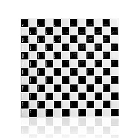 Cocotik Peel and Stick Tile High Quality 10x10 Self Adhesive Wall Tile in Square , Classic Black and White ,(7 sq.ft) by Cocotik