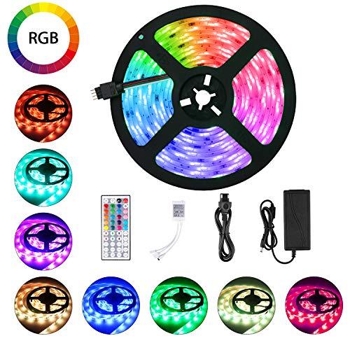 LED Strip 5m RGB LED Streifen SMD 5050 Leds mit Netzteil, Fernbedienung, Led Stripes Licht Leiste Band Beleuchtung für Deko Party Weihnachten