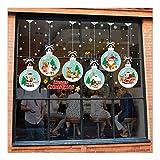 QTZJYLW Home Fensteraufkleber Weihnachten Hängende Kugel Muster PVC Elektrostatische Wandaufkleber Für Weihnachtsgeschäft Partyfensterdekorationen
