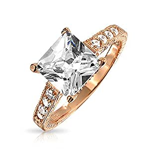 Bling Jewelry Pave Band Rose Gold Plated 925 Silver Princess Cut Engagement Ring 3 ct CZ