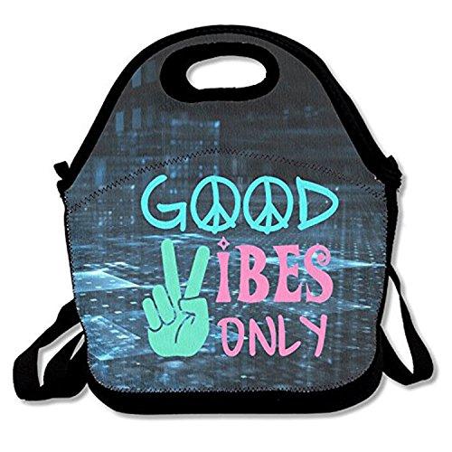 ZMvise Good Vibes Only les sacs réutilisables pique - nique déjeuner tote isolés boîtes hommes femmes enfants toddler infirmières sac de voyage