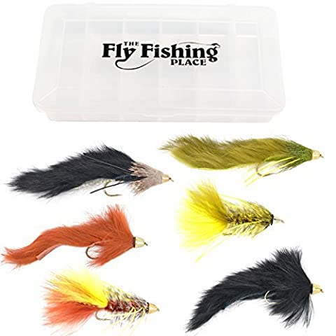 Cone Head Streamer Fly Fishing Flies Assortment - Bass and Big Trout Streamers Fly Fishing Fly Collection - 6 Flies Size 4 - With Fly Box by The Fly Fishing Place