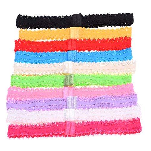 Jiamins 10Pcs Newborn Baby Lace Headbands Girls Hairbands Elastic Head Bands, Random Color