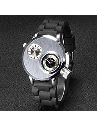 Relojes Hermosos, Diseño ejército reloj correa de silicona de cuarzo doble de tiempo de los hombres v6 ( Color : Plateado )