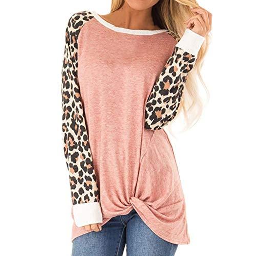 CixNy Bluse Frauen Lange Ärmel T-Shirts Herbst Winter Mode Chic Knoten Pullover Oberteile O-Ausschnitt Leopard Patchwork Tops Polo Weste Tunika Hemd (XL, Rosa) -
