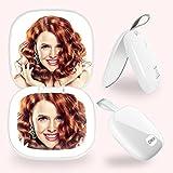 DIKI Kompaktspiegel, Schminkspiegel mit LEDs Beleuchtung, 1x/2x Vergrößerung, USB Wiederaufladbarer Tischspiegel, Dimmbarer Make up Spiegel für Make up Rasieren, Reisen,Zusammenklappbar, weiß