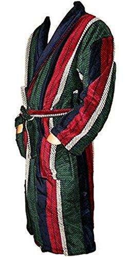 ILKADIM Bademantel, Morgenmantel für Herren mit schönem gestreiften Muster (rot-grün-blau-weiss), Größe M und Top Qualität, 100% aus Baumwolle (Velourbaumwolle)