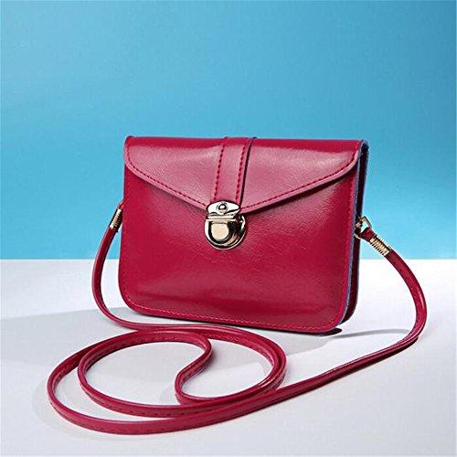 Longra Donne singola spalla Mini retro diagonale cellulare borsa borsa zero Rosa caldo