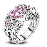 Schmuck Damen-Ring, Dragon868 Silber natürliche Rubin Edelsteine Birthstone Braut Hochzeit Engagement Herz Ring (8, Rosa)
