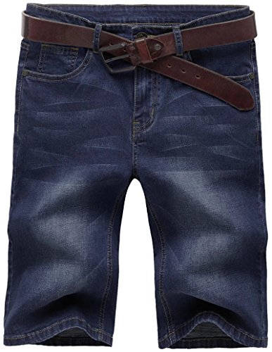 Valuker N867 Herren Stretch Jeans Shorts Sommer Kurze Hose Dunkelblau-34