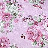 Hochwertiger Baumwollstoff mit rosafarbenen Rosen,