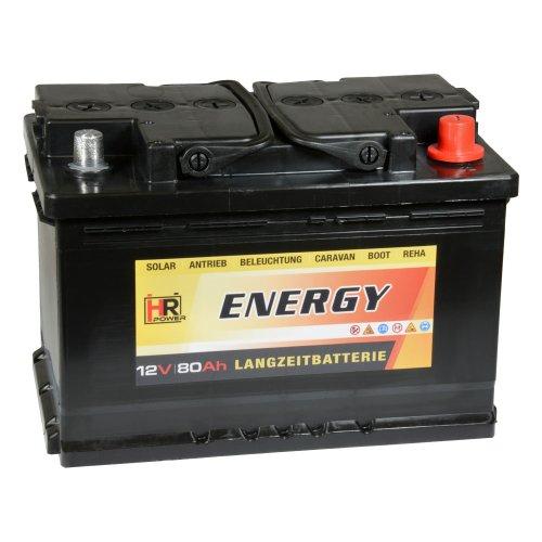 HR-ENERGY 80Ah 12V Versorgerbatterie Wohnmobil Solar Boot
