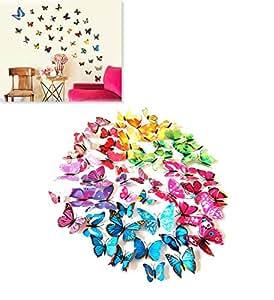 Kit 12 farfalle FUCSIA 3D adesivi per pareti vari colori decorazione casa stickers murali
