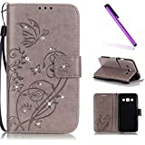 Samsung Galaxy A3 Coque 2015,Galaxy A3 Coque Antichoc,Galaxy A3 Coque Cuir,Galaxy A3 Coque Flip Etui Housse Portefeuille,EMAXELERS Galaxy A3 2015 Cuir Coque Étui Housse Leather Case Wallet Flip Protective Cover,Galaxy A3 Coque Bling Cristall Diamant Papillon Design PU Cuir Portefeuille Housse Swag Case Cover Coquille Couverture pour Samsung Galaxy A3 2015,Gray Butterfly with Diamond