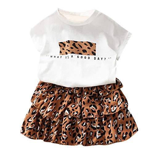 Alwayswin Baby Mädchen Outfits Kleidung Brief T-Shirt Top + Leopard Kuchen Rock Set Kleinkind Kind Weiß Kurzarm Bequem Oberteil Lose Freizeit Gummiband Kurzer Rock A-Linienrock